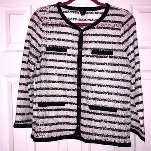Ann Taylor Black & White Stripe Cardigan Lace Sz M